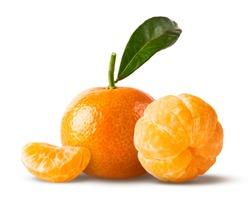 Fresh ripe mandarine isolated on white background.