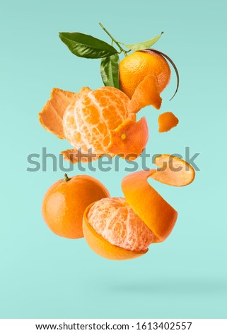 Fresh ripe mandarine with leaves falling in the air. Cut and whole mandarine isolated on turquoise background. Food levitation concept. High resolution image ストックフォト ©