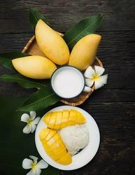 fresh ripe mango and sticky rice with coconut milk, authentic Thai dessert,Thai seasonal fruit,