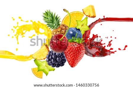 Fresh ripe orange, blackberry, strawberry, pineapple, blueberry, cherry juice mix splashes with strawberry, blueberry, blackberry, pineapple, cherry. Orange berry juice 3D splash with forest fruits