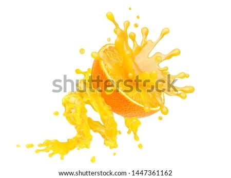 Fresh ripe orange fruit and orange juice or smoothie 3D splash. Tasty vitamin citrus juice splashing, orange juice or smoothie isolated on white. Healthy orange drink tropical fruit design element
