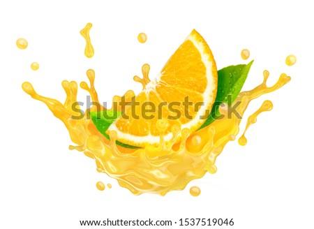 Fresh ripe orange slice and orange juice, smoothie 3D splash swirl. Tasty juice splashing, orange juice isolated on white background. Liquid healthy food, drink tropical citrus fruit ad design element