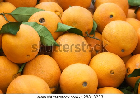 Fresh ripe oranges at farmers market in Turkey