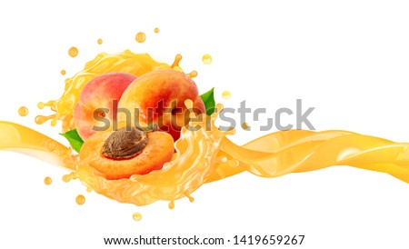 Fresh ripe peaches or apricots, peach juice 3D splash wave. Healthy food or fruit drink liquid ad label design elements. Tasty peach or apricots fruits vitamin smoothie splash isolated. Clipping path