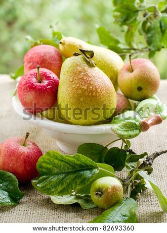 Fresh ripe pears and apples in bowl on natural  background. Selective focus