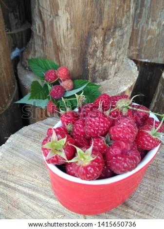 Fresh ripe raspberries from grandmas garden.  Close-up on firewood background