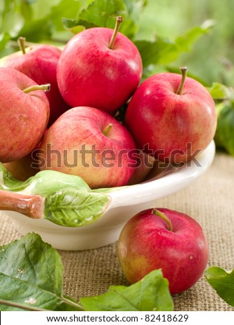 Fresh ripe red apples in bowl on natural  background. Selective focus