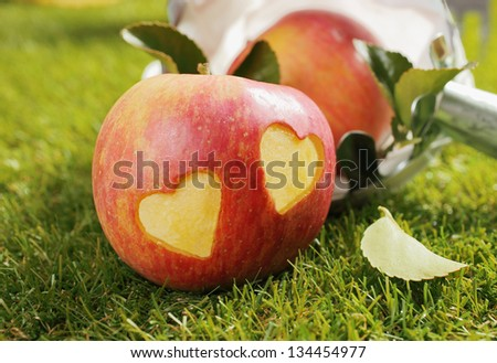 Fresh ripe red farm apple with two incised hearts in the skin lying outdoors on a green lawn conceptual of either a love of apples or romantic love between couples - stock photo