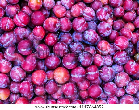 Fresh ripe red plums as a background #1117664852