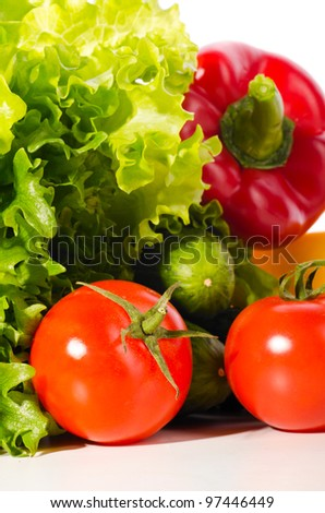 fresh ripe vegetables set on white background