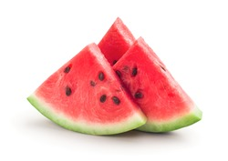 Fresh ripe watermelon slices, isolated on white background