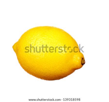 Fresh ripe whole lemon. Isolated on white background