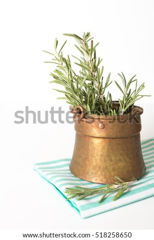 Fresh rosemary in antique metallic pot on blue white striped towel, on white background. #518258650