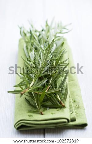 Fresh Rosemary on Tea Towel