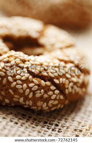 fresh rustic bread/bagels, shallow dof