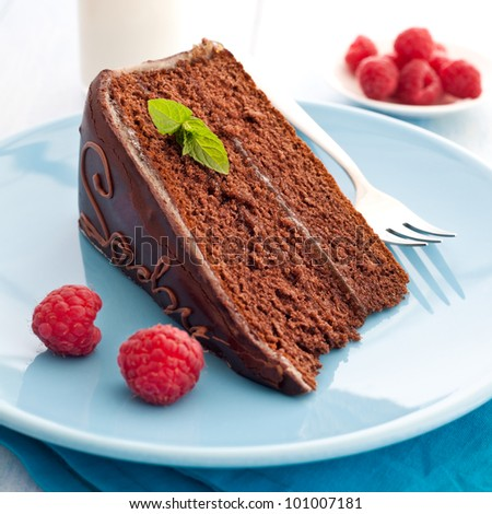 fresh sacher cake with raspberry