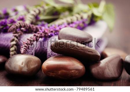 fresh sage flowers and towel - beauty treatment