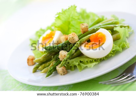 fresh salad with asparagus,eggs and croutons