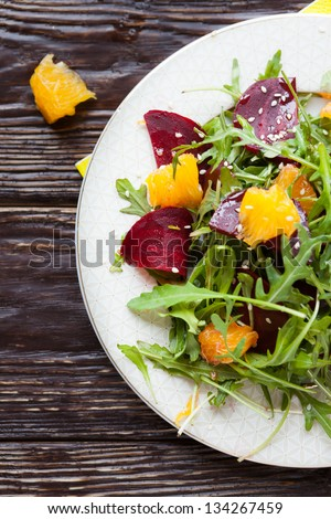 fresh salad with beets and oranges, food