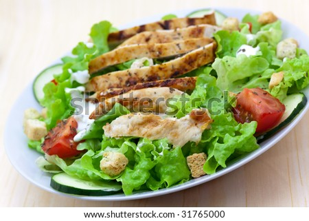 Fresh salad with chicken breast,lettuce and tomatoes