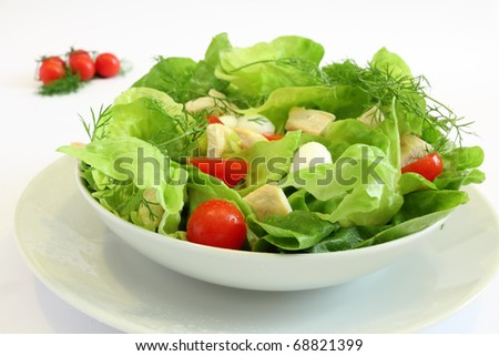Fresh salad with chicken breast,lettuce, tomatoes and mozzarella cheese #68821399