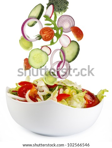 Fresh salad with ingredients