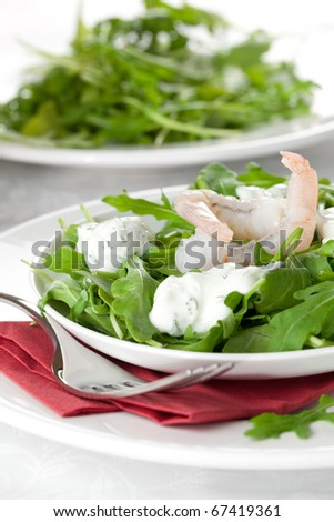 fresh salad with prawn and dressing