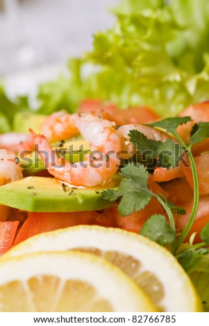 Fresh salad with shrimps and avocado