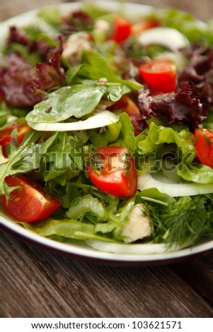 fresh salad with tomato and cucumber.green