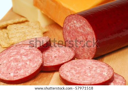 Fresh salami with cheddar and Swiss cheese and whole wheat crackers - stock photo