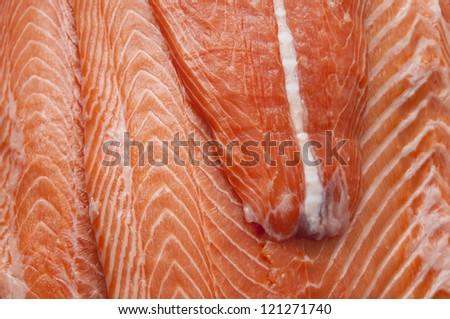 Fresh salmon fillet fish meat
