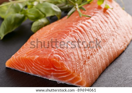 fresh salmon fillet with herbs