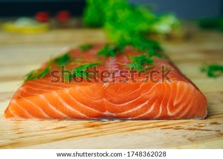 fresh salmon fillet with herbs. Salmon fillet with fresh herbs. salmon fillet. Fresh Raw Salmon Fillet
