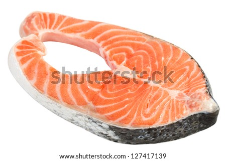 fresh salmon on white background