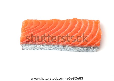 Fresh salmon piece with scale. Isolated on white - stock photo
