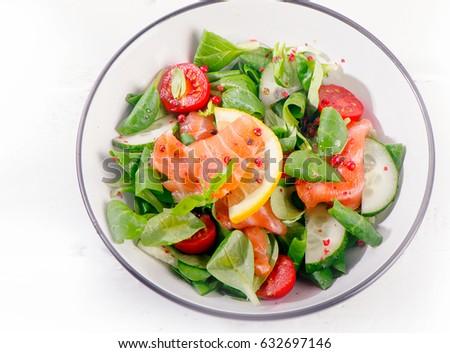 Fresh Salmon Salad. Healthy diet eating. Flat lay #632697146