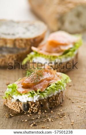 Fresh salmon snack sandwich close up shoot