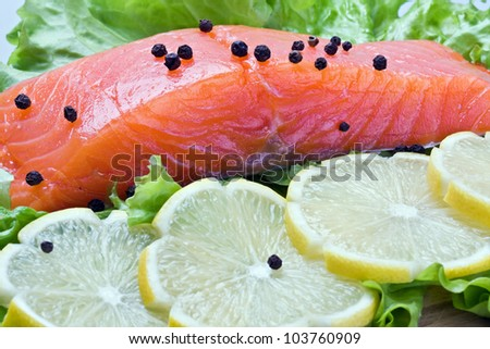Fresh salmon steak on white plate with lemon and green salad