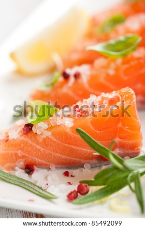 Fresh salmon with spices and herbs