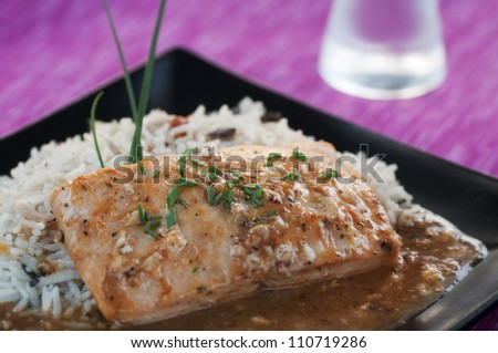 Fresh salmon with Thai jasmine rice and spicy sauce