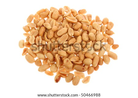 Fresh salty peanuts isolated on pure white background