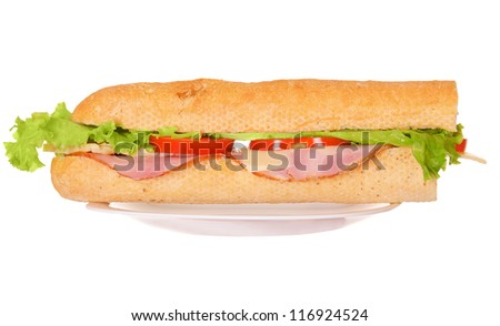 Fresh sandwich with meat and salad on plate isolated on white background