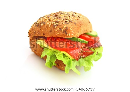 Fresh sandwich with salami cheese and vegetables