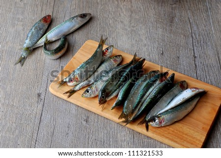 Fresh sardines on wooden board