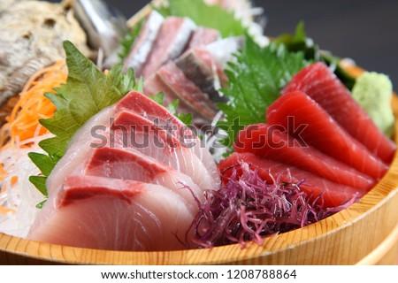 fresh sashimi combo in a tub Foto d'archivio ©