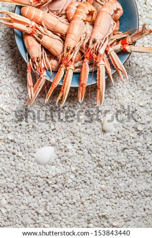Fresh scampi served on the beach