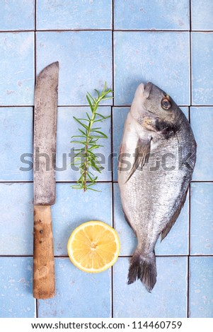 Fresh sea bream with lemon and rosemary and a knife, Gilt-head bream ...