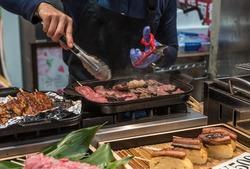 Fresh seafood at Kuromon Market in Osaka.Japan