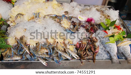 fresh seafood in ice