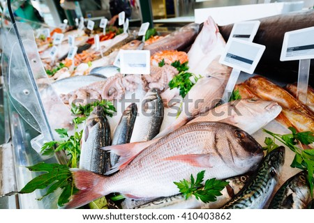 Photo of  Fresh seafood on ice at the fish market